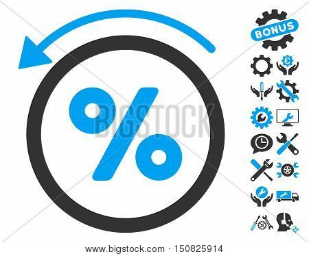 Rebate Percent icon with bonus tools clip art. Vector illustration style is flat iconic bicolor symbols, blue and gray colors, white background.