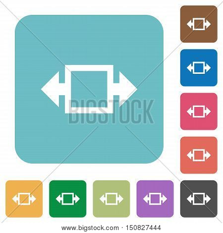 Flat width tool icons on rounded square color backgrounds.