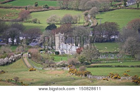 Church and houses of Sourton Village, Dartmoor