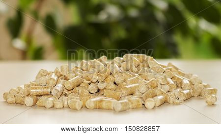 Biofuels. Alternative biofuel from sawdust for burning in boilers. Wood pellets on the background of greenery. Biofuels. The cat litter.