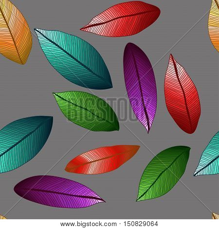 vector colored leaves with degrade effect on grey background. Foliage