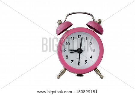 Pink clock isolated on a white background.