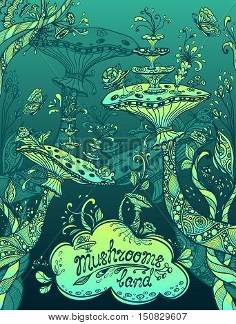 Fantasy illustration mushrooms land in Zen doodle or Zen tangle style blue marine and green for template background for book cover or computer game or  wallpaper or for screen of mobile telephone