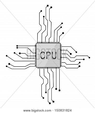Central processor. Scheme for instruments . eps 10 vector illustration