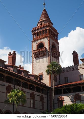 A tower at Flagler College in St. Augustine Florida. The college is the site of the former Ponce De Leon hotel. It is Spanish Renaissance style.