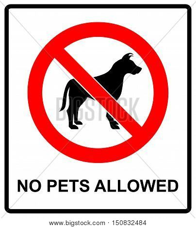 no pet allowed sign illustration vector no dogs, please, warning sticker for outdoors and public places isolated on white red circle