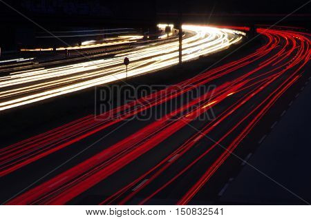 Light trails of vehicles in a motorway