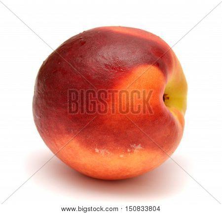 Nectarine isolated on white background. Red. Fruit.