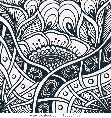 Background  with  Zen tangle or Zen doodle flowers pattern in black white for relax coloring page or adult coloring books or  for wallpaper or  for packed something