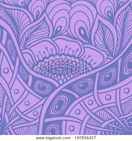 Background  with  Zen tangle or Zen doodle flowers pattern in lilac or for wallpaper or  for packed something