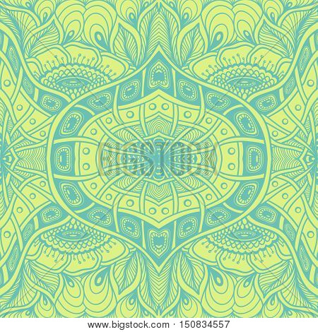 Seamless pattern  with  Zen tangle or Zen doodle flowers in green or for wallpaper or  for packed something