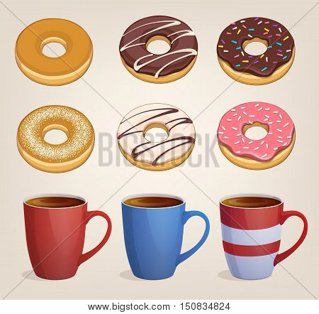 Donuts, sweet snack. Vector illustration on light background. Icon. Several cups tea