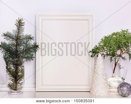 Picture frame Christmas mockup stock photography. Design works presentations for bloggers and social media.