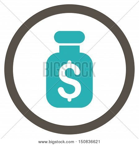 Business Remedy vector bicolor rounded icon. Image style is a flat icon symbol inside a circle, grey and cyan colors, white background.