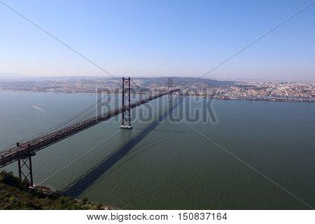 April 25th Bridge above Tagus River in Lisbon. Portugal