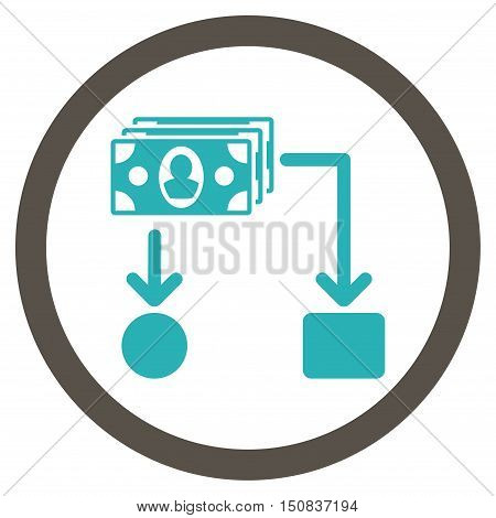Cashflow vector bicolor rounded icon. Image style is a flat icon symbol inside a circle, grey and cyan colors, white background.