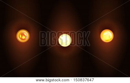 Set of Vector realistic illustration burning light bulb. The blank template to design signs or garland in retro style