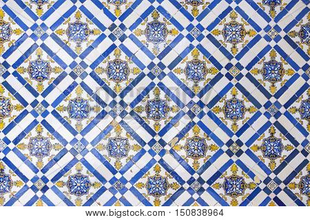 Typical Portuguese Old Ceramic Wall Tiles (azulejos) In Lisbon, Portugal