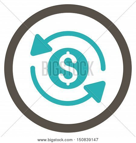 Money Turnover vector bicolor rounded icon. Image style is a flat icon symbol inside a circle, grey and cyan colors, white background.