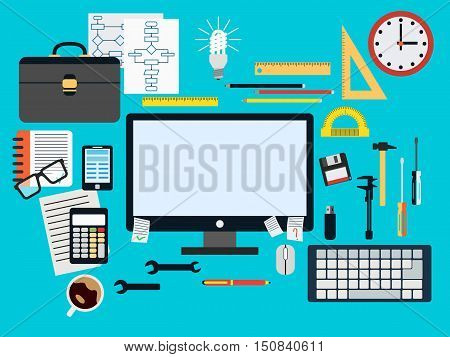 Programmer workplace flat design style vector concept illustration