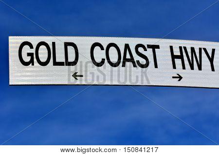 Street sign of Gold Coast Highway in Queensland Australia.