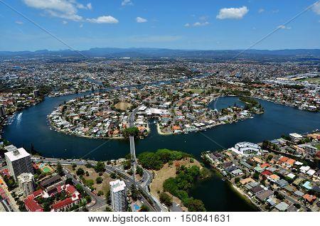 Aerial View Of Surfers Paradise Queensland Australia