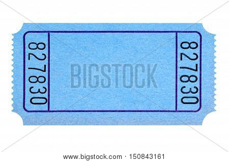 Blank Blue Movie Or Raffle Ticket Isolated On White Background.  Space For Copy.