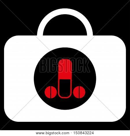 Male Sexual Toolbox vector icon. Style is bicolor flat symbol red and white colors rounded angles black background.