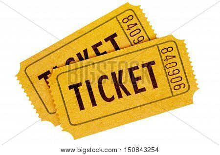 Two Orange Movie Tickets Isolated On A White Background.