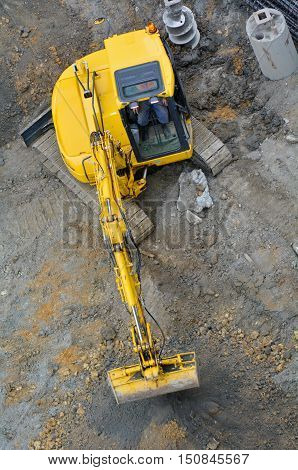 Excavator Digger In Construction Site