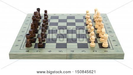 chess board with chess pieces on white