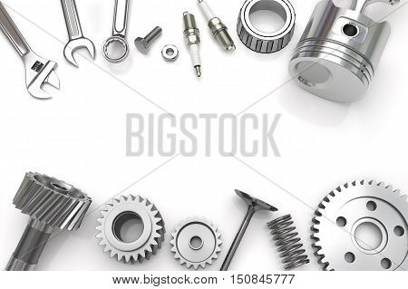 Set fo Tools And Gear on white background, Engine pistons,  Metal working tools. 3D illustration