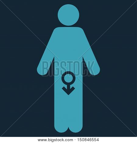 Male Impotence vector icon. Style is flat symbol blue color rounded angles dark blue background.