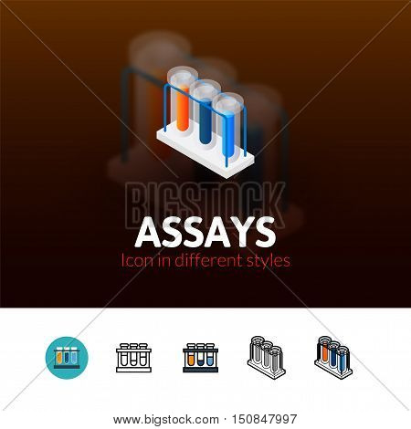 Assays color icon, vector symbol in flat, outline and isometric style isolated on blur background