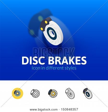 Disc brakes color icon, vector symbol in flat, outline and isometric style isolated on blur background