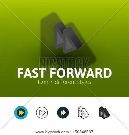 Fast forward color icon, vector symbol in flat, outline and isometric style isolated on blur background