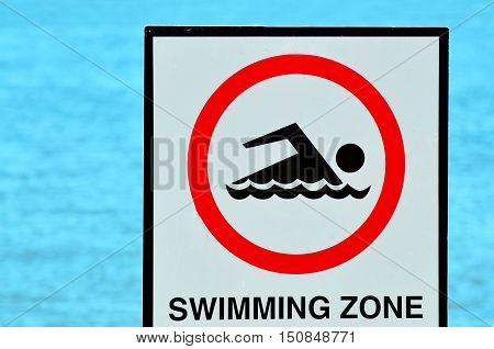 Authorise Swimming Zone Sign