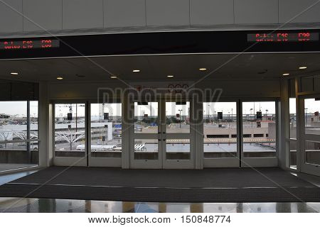 DALLAS, TX - SEP 19: Skyline monorail station at Dallas-Fort Worth International Airport (DFW) in Texas, as seen on Sep 19, 2016. The Skylink train connects all terminals at DFW Airport.