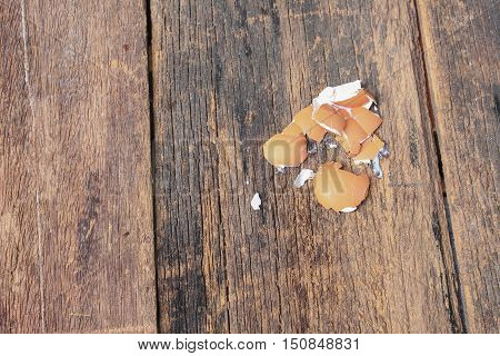 shell of the egg scattered on wooden table background