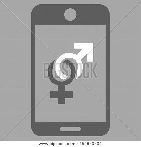 Mobile Dating vector icon. Style is bicolor flat symbol dark gray and white colors rounded angles silver background.