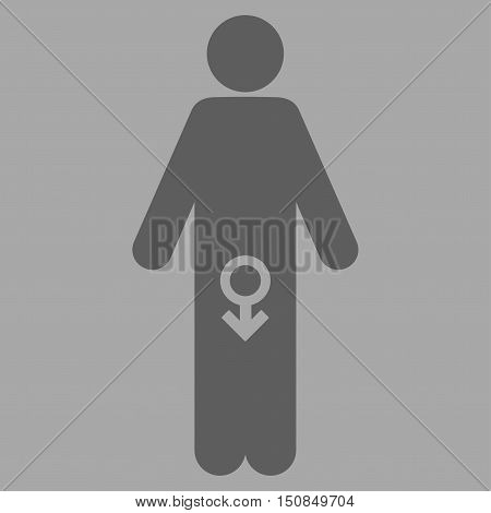 Male Impotence vector icon. Style is flat symbol dark gray color rounded angles silver background.