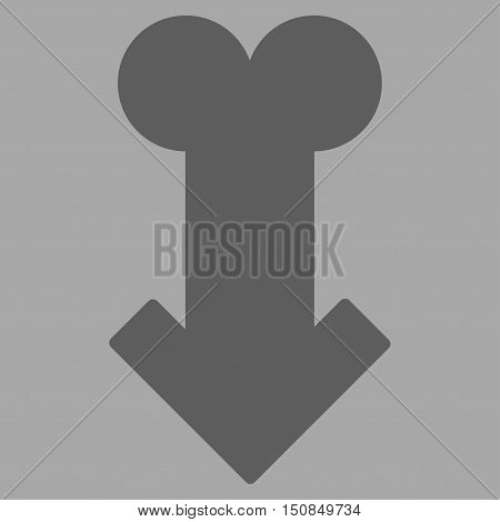 Male Sexual Disfunction vector icon. Style is flat symbol dark gray color rounded angles silver background.