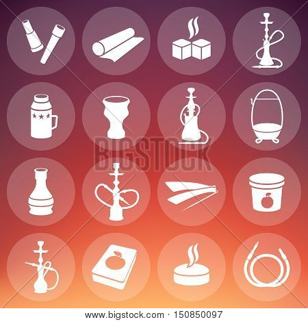 Set of vector hookah icons. Waterpipes, tobacco, charcoal and accessories. Labels for hookah shop or hookah lounge.