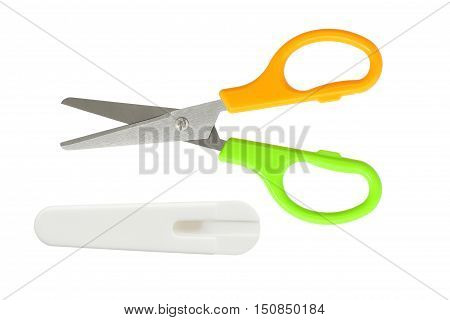 Child Scissors with Safety Sheath isolated on white background