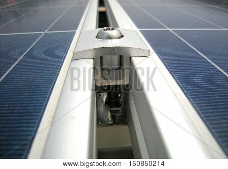 Clamp of Solar PV Panel Rooftop Clamp Closeup poster
