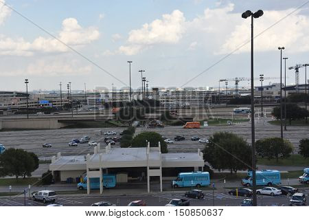 DALLAS, TX - SEP 18: Dallas-Fort Worth International Airport in Texas, on Sep 18, 2016. It is the largest hub for American Airlines, which is headquartered near the airport.