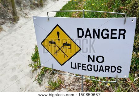 Danger No Lifeguards Sign