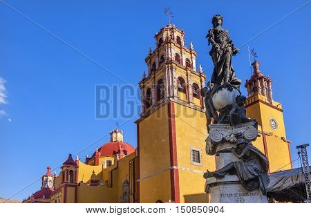 Our Lady of Guanajuato Paz Peace Statu Guanajuato Mexico Statue donated To City by Charles V Holy Roman Emperor in the 1500s. Steeple Towers Basilica de Nusetra Senora Guanajuato Mexico