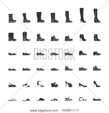 Black shoes icon set, men women fashion shoes. Vector illustration