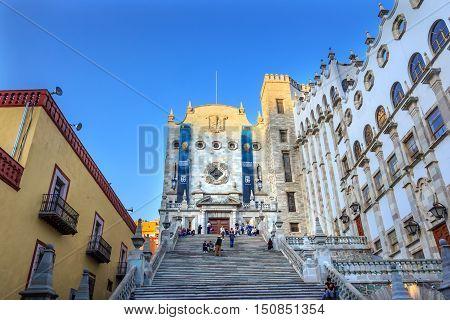 GUANAJUATO, MEXICO - DECEMBER 30, 2014 University of Guanajuato Guanjuato Mexico Steps With Students